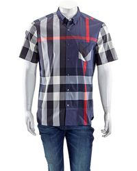 Burberry Thornaby Short-sleeve Check Sport Shirt - Blue