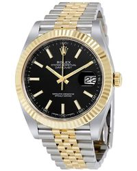 Rolex Datejust 41 Black Dial Steel And 18k Yellow Gold Jubilee Mens Watch - Metallic