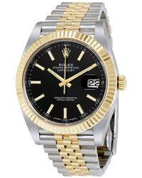 Rolex Datejust 41 Black Dial Steel And 18k Yellow Gold Jubilee Mens Watch - Metallic