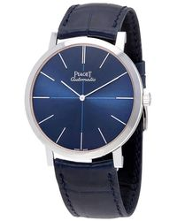 Piaget Altiplano Blue Dial Blue Leather Mens Watch