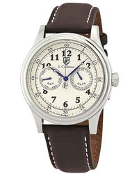S. Coifman Ivory Dial Brown Leather Mens Watch