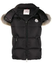 Moncler Ladies Padded Vest With Fur Hood In Black