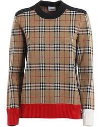 Burberry Ladies Brown Vintage Check Sweater