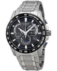 Citizen Perpetual Chrono A-t Eco-drive Titanium Chronograph Mens Watch -50e - Metallic
