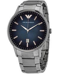 Armani Renato Quartz Blue Dial Mens Watch - Metallic
