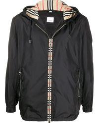 Burberry Vintage Check Panel Hooded Jacket 48 (us - Black