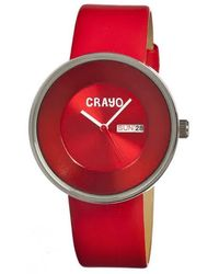 Crayo Button Quartz Red Dial Red Leather Unisex Watch