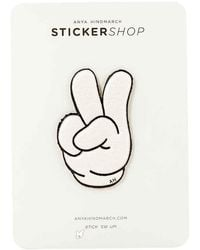 Anya Hindmarch Victory Finger Symbol Sticker - White