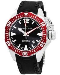 Hamilton Khaki Navy Automatic Black Dial Mens Watch - Red