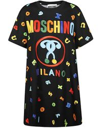 Moschino Ladies Magnet Letter Print T-shirt Dress - Black