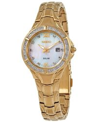 Seiko Solar Diamond Collection Diamond-accent Gold-tone Stainless Steel Bracelet Watch 29mm - Metallic