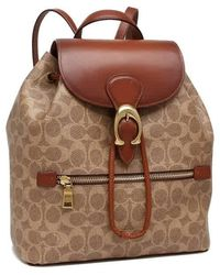 COACH Ladies Signature Canvas Evie Backpack - Natural
