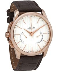 Azzaro Legend White Dial Brown Leather Mens Watch - Multicolor