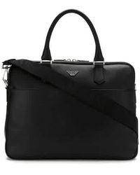 Emporio Armani Ladies Black Soft Saffiano Briefcase