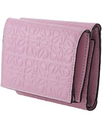 Loewe Repeat Anagram Embossed Tri-fold Leather Wallet - Pink