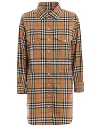 Burberry Ladies Vintage Check Cotton Oversized Shirt, Brand - Natural