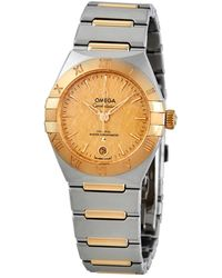 Omega - Constellation Automatic Champagne Dial Ladies Watch - Lyst