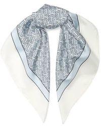 Burberry Monogram Print Silk Square Scarf - Blue