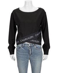 Calvin Klein Ladies Active Icon Wrap-over Hem Sweatshirt, Brand - Black