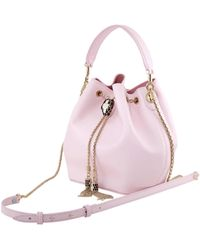 BVLGARI Serpenti Forever Leather Bucket Bag- Pink