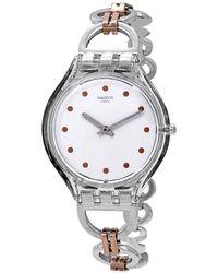 Swatch Skinring White Dial Two-tone Ladies Watch - Metallic