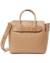 Burberry Light Camel Ladies Top Handle Triple Stud Bag - Yellow
