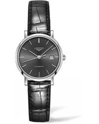 Longines Elegant Automatic Black Sunray Dial Ladies Watch