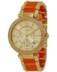 Michael Kors Parker Gold-tone Acetate Watch - Metallic