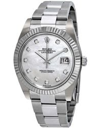 Rolex Datejust 41 Automatic White Mother Of Pearl Diamond Dial Watch - Metallic
