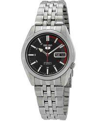 Seiko Series 5 Automatic Black Dial Watch - Metallic