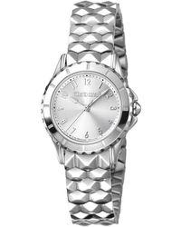 Roberto Cavalli Quartz Silver Dial Ladies Watch - Metallic