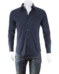 Burberry Mens Navy Slim Fit Stretch Cotton Shirt - Blue