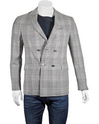 Burberry Slim Fit Check Wool Double-breasted Jacket - Black