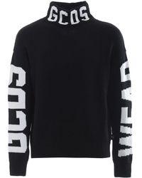 Gcds Mens Long-sleeve Knitted Logo Wool-blend Turtleneck Sweater, Brand - Black