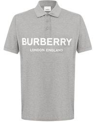 Burberry Mens Logo Print Cotton Pique Polo Shirt, Brand - Grey