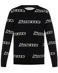 Moncler Mens Black Allover Logo Wool Blend Sweater, Brand