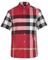 Burberry Mens Check Stretch Cotton Shirt - Red