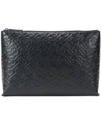Burberry Monogram Leather Zip Pouch - Black