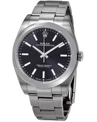 Rolex Oyster Perpetual Black Dial Automatic Mens Watch - Metallic