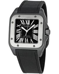Cartier Pre-owned Santos 100 Automatic Black Dial Mens Watch