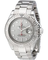 Rolex Pre-owned Oyster Perpetual Yacht-master Steel With Platinum Mens Watch - Metallic