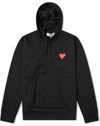 Comme des Garçons Ladies Long-sleeve Embroidered Heart Logo Hoodie In Black