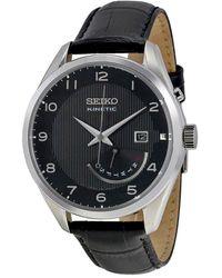 Seiko Kinetic Black Dial Black Leather Mens Watch