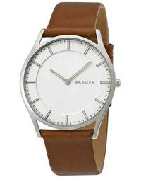 Skagen - Holst White Dial Brown Leather Mens Watch - Lyst