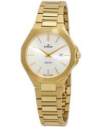 Edox Delfin Quartz Silver Dial Watch  37jm Aid - Metallic