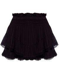 Étoile Isabel Marant Ladies Black Janis Tiered Crepe Mini Shorts