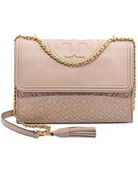 Tory Burch - Fleming Convertible Leather Shoulder Bag - Light Taupe - Lyst