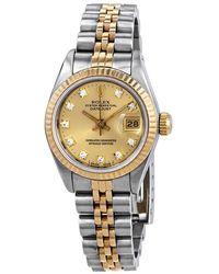 Rolex Pre-owned Datejust Champagne Dial Jubilee Bracelet Ladies Watch - Metallic