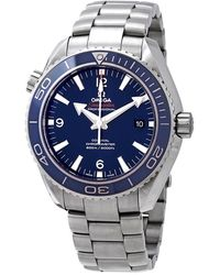 Omega Pre-owned Seamaster Planet Ocean 600m Titanium Blue Mens Watch