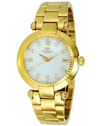 Oniss Mother Of Pearl Dial Gold-tone Stainless Steel Ladies Watch -lg - Metallic